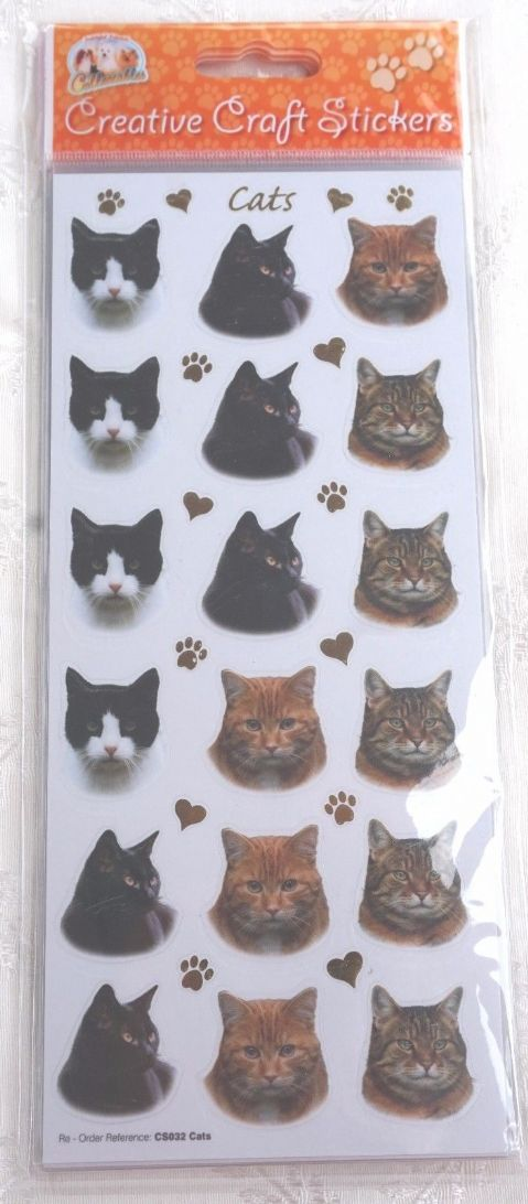 CAT CRAFT STICKERS - CATS - FOR CARD CRAFT SCRAPBOOKING ETC